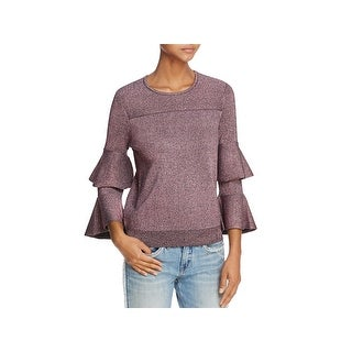 Parker Womens Jayla Crewneck Sweater Metallic Bell Sleeves