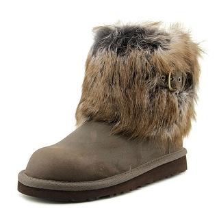 Ugg Australia Ellee Youth Round Toe Leather Brown Ankle Boot