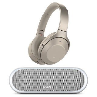 Sony Wireless Noise Cancelling Headphones (Gold) with Portable Wireless Speaker