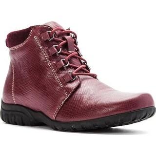 Propet Women's Delaney Ankle Bootie Bordo Leather