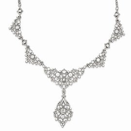 Silvertone White Crystal Necklace - 16in