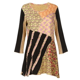Women's Gold & Black Floral Paisley Patchwork 3/4 Sleeve Tunic Top