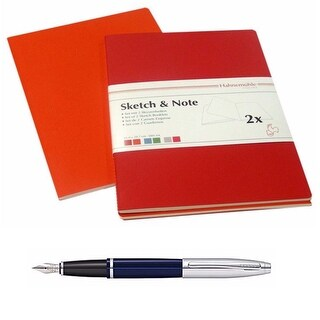 Hahnemühle Sketch & Note Booklets A6 (Red) with Cross Fountain Pen Blue Lacquer