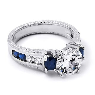 Link to 2.00 Carat Blue Sapphire Cubic Zirconia Gemstone Ring Sterling Silver Similar Items in Rings