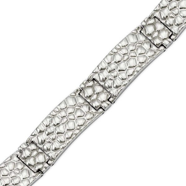 Stainless Steel Textured 8.25in Bracelet