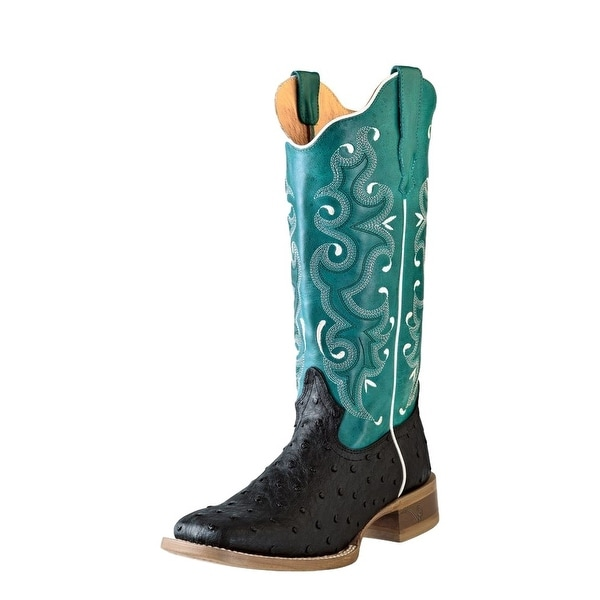Outlaw Western Boots Women Ostrich Print Square Toe Straps Black
