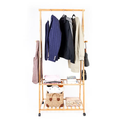 2-layer Portable Practical Storage Clothes Hanger with Wheel