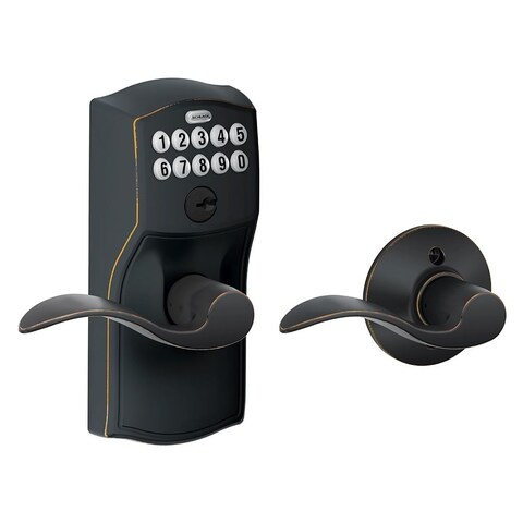 Schlage FE575-CAM-ACC Camelot Keypad Entry with Auto-Lock Door Lever Set with Accent Interior Lever - N/A