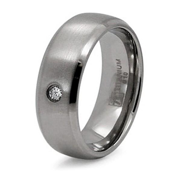 Titanium Ring with CZ (Sizes 8-12)