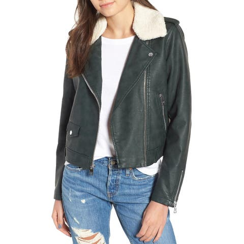 Levi's Womens Sherpa-Trimmed Faux-Leather Moto Jacket Large Green