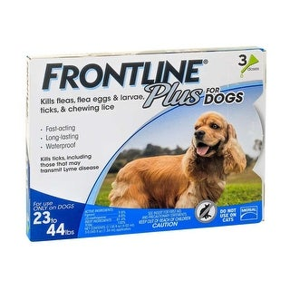 Frontline Plus Flea and Tick Control for Dogs and Puppies 23-44 lb 3 Mo. Supply