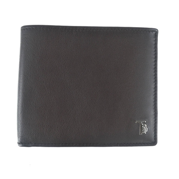 Tods Mens Brown Grained Leather Central Stitched Bifold Wallet