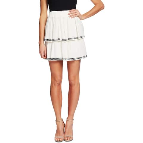 CeCe Womens Tiered Skirt Embroidered Ruffled - Ivory/Black - L