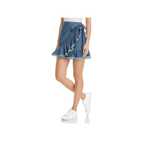 Blank NYC Womens Denim Skirt Ruffled Wrap