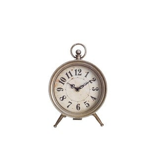 Pack of 2 Antiqued Analog Desk Clock with Finial and Circular Top 9