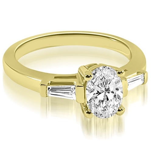 1.25 cttw. 14K Yellow Gold Oval and Baguette Three Stone Diamond Engagement Ring