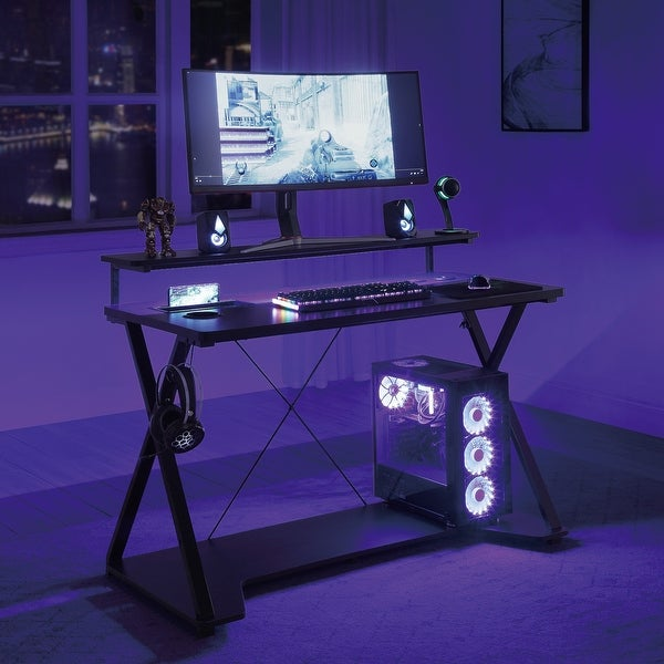 Checkpoint Ghost Battlestation Gaming Desk with RGB LED Lights. Opens flyout.