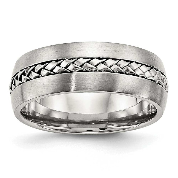 Stainless Steel Brushed and Polished Braided 8 mm Band Ring - Sizes 7 - 13