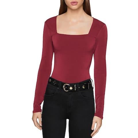 BCBGeneration Womens Bodysuit Square Neck Long Sleeve - Deep Red