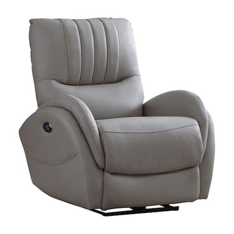 Leatherette Upholstered Power Recliner with Contoured Seats, Gray