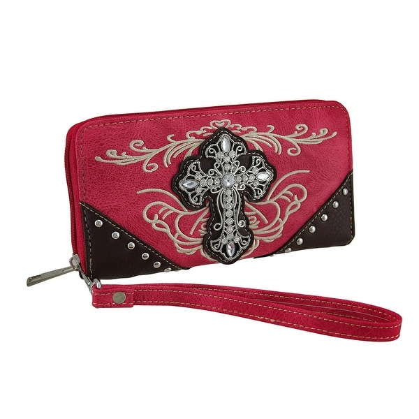 Embroidered Western Style Zipper Wallet W/Studs and Rhinestone Cross
