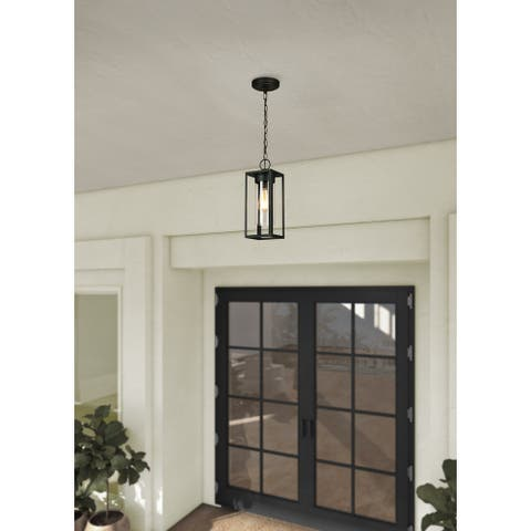 Eglo Walker Hill 14-inch Matte Black Outdoor Pendant with Clear Glass