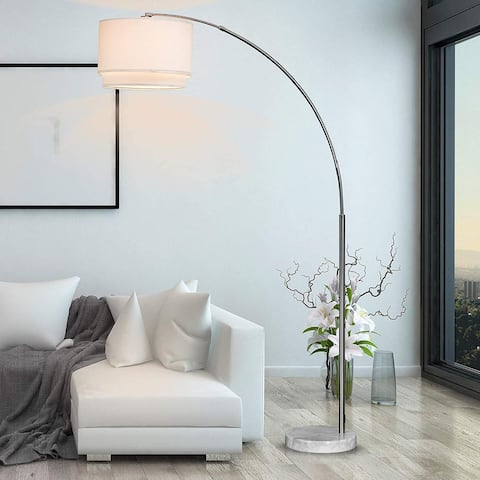 Q-Max Steel Double Shade Adjustable Arching Floor Lamp with Marble Base