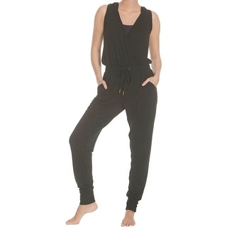 Splendid Women's Marled Hooded Drawstring Sleeveless Activewear Jumpsuit