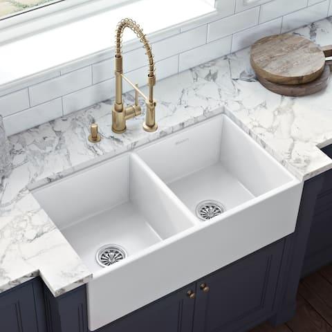 Ruvati 33 x 18 inch Fireclay Farmhouse Apron-Front Kitchen Sink Double Bowl - White - RVL2311WH