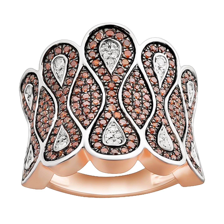 1.01 TCW Cognac Diamond and Diamond luxurious Ring - Thumbnail 0