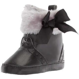 Luvable Friends Kids' Faux Fur Trimmed Boots with Bow Crib Shoe