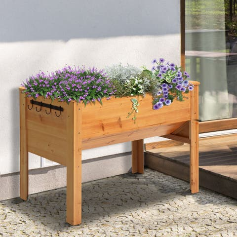 """Outsunny 49"""" x 24"""" x 32"""" Raised Garden Bed Planter Box with Natural Fir Wood, Unique Funnel Design, & Tool Hooks"""