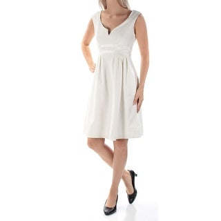 Womens White Sleeveless Above The Knee Fit + Flare Cocktail Dress Size: 2XS