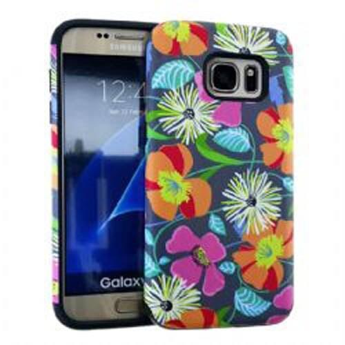 MYVI Series Slim Hybrid Protector Case for Samsung Galaxy S7 (Black Skin and Flo