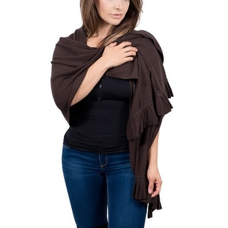Maglierie Di Perugia Cashmere Blend Elegant Dark Brown Ruffled Wrap/Shawl