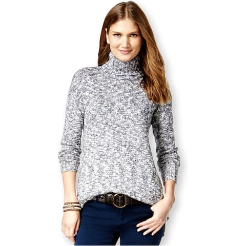 American Living Womens Marled Turtleneck Pullover Sweater, blue, XX-Large