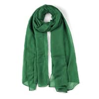 Hollow Long Solid Color Wrap Cotton Linen Scarf Shawl For Women Dark Green