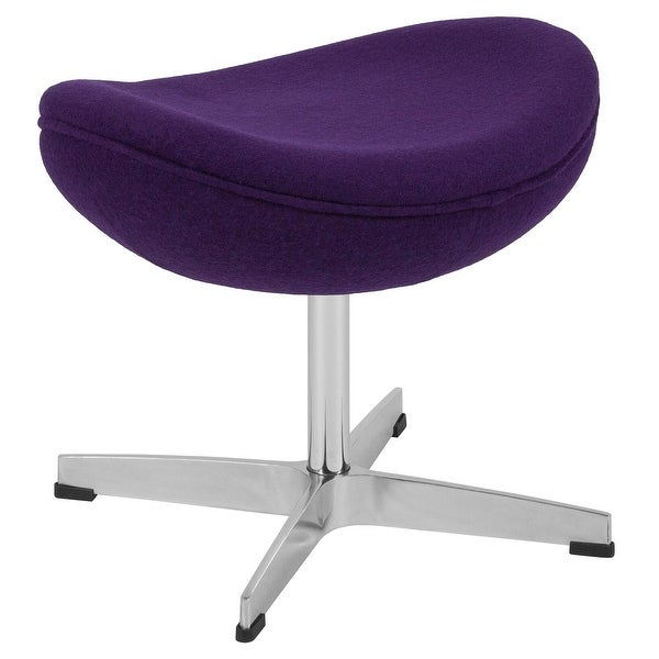 "21"" Purple Saddle Curved Design Wool Fabric Upholstery Ottoman - N/A"