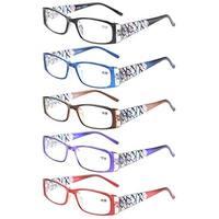 Eyekepper 5-Pack LookCrystal Aeropittura Arms Spring Hinges Womens Reading Glasses +1.25
