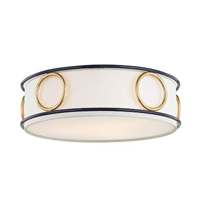 Mitzi by Hudson Valley Jade 3-light Gold Leaf Flush Mount with Navy Accents, Off White Linen