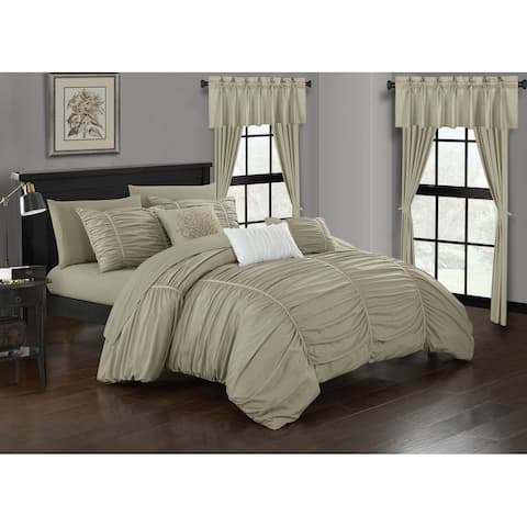 Chic Home Hallstatt 20 Piece Comforter Set Designer Bed in a Bag Bedding, Beige
