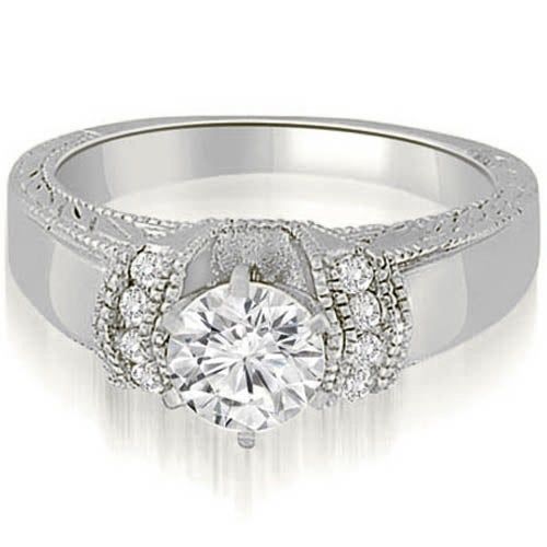 0.60 cttw. 14K White Gold Antique Style Cathedral Round Diamond Engagement Ring