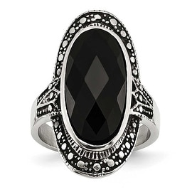 Chisel Stainless Steel Black Glass Antiqued Ring (29 mm)