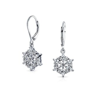 Bling Jewelry Sterling Silver Marquise CZ Snowflake Leverback Earrings