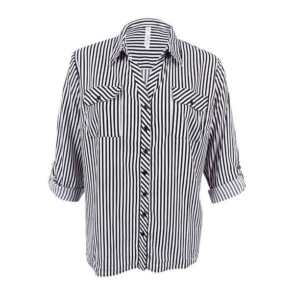 1013f5d36b Shop NY Collection Women's Plus Size Striped Utility Shirt (Pinstripe  Yardville, 2X) - pinstripe yardville - 2x - Free Shipping On Orders Over  $45 ...