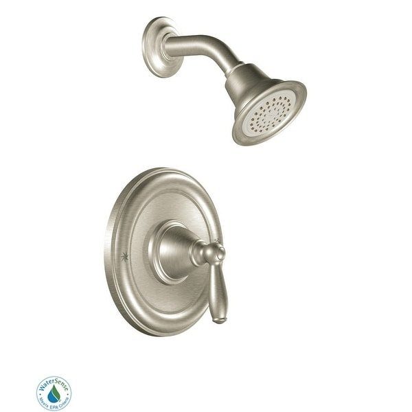 Moen T2152EP Single Handle Posi-Temp Pressure Balanced Shower Trim with Shower Head from the Brantford Collection (Less Valve)
