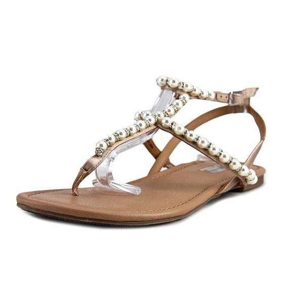 INC International Concepts Madigane Women Open Toe Canvas Ivory Thong Sandal