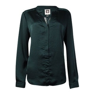 Anne Klein Women's Lace Back Placket Front Blouse (12, Tree Line) - tree line