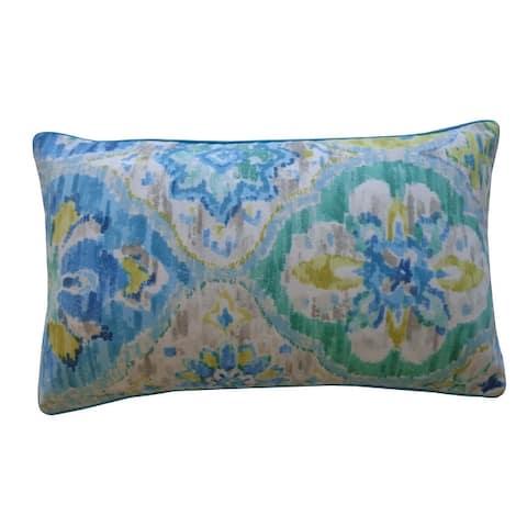 Jiti Blue Floral Traditional Sunbrella Outdoor Pillows - 12 x 20
