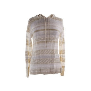 Ohmg! Juniors Oatmeal Striped Mixed-Knit Hoodie S